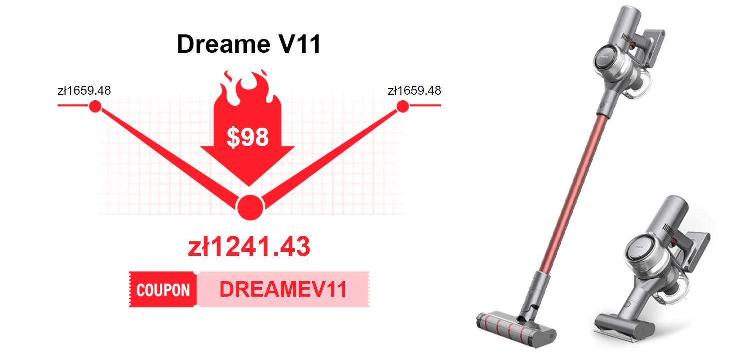 Promocja Dreame V11 na geekbuying.com - kod rabatowy - cena