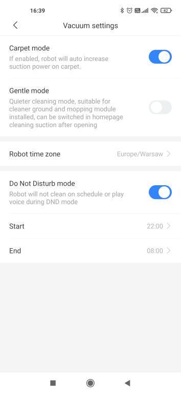 zmiana ustawień w aplikacji