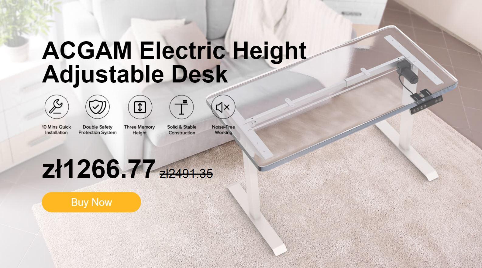 Elektrycznie regulowane biurko ACGAM