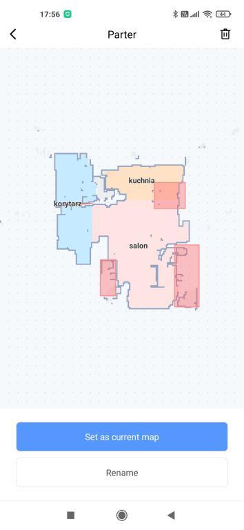 aplikacja Xiaomi Home - strefy zakazane na mapie - robot Viomi SE
