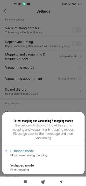 widok w aplikacji Xiaomi Home - Viomi SE - zmiana trybu jazdy z S na Y