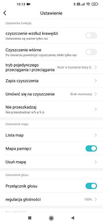 widok w aplikacji Xiaomi Home - ustawienia Viomi SE