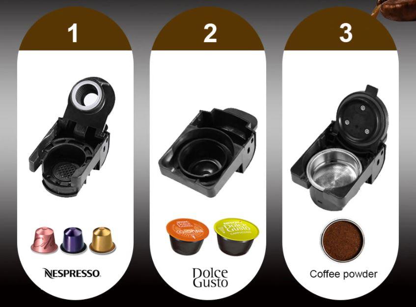 Pomysły na prezent świąteczny z Aliexpress dla niej - ekspres ciśnieniowy do kawy BioloMix - różne kapsułki