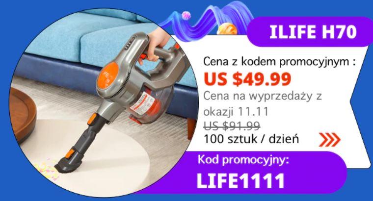 odkurzacz ręczny iLife H70 - promocja Aliexpress z okazji 11 listopada