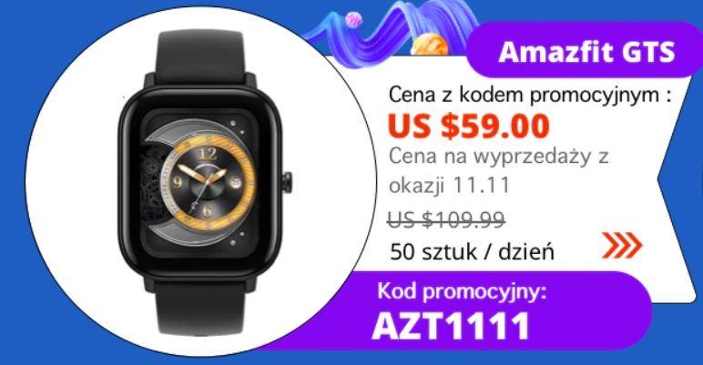 10 hitów z Aliexpress - promocja na 11.11 - smartwatch Amazfit GTS