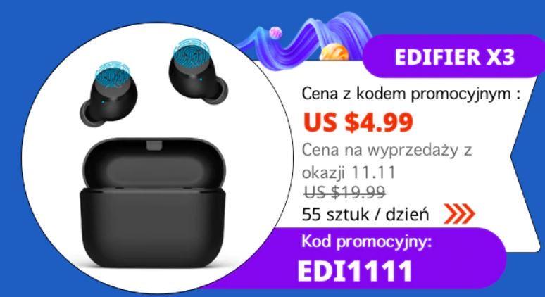 Edifier X3 - słuchawki Bluetooth - promocja Aliexpress z okazji 11 listopada