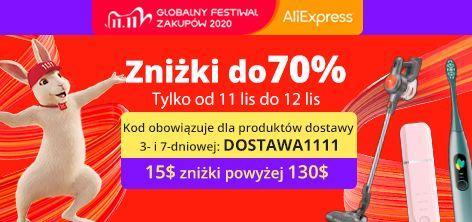 Kod rabatowy Aliexpress na 11.11 - DOSTAWA1111