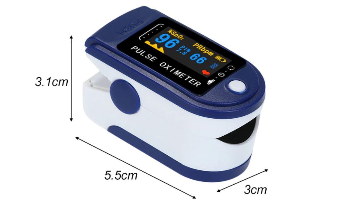 Pulsoksymetr z Aliexpress - wymiary urządzenia