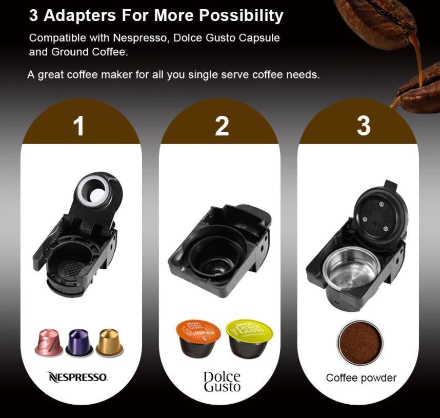 Sprzęty kuchenne BioloMix z Aliexpress - ekspres do kawy 3 w 1 BioloMix - różne kapsułki z kawą