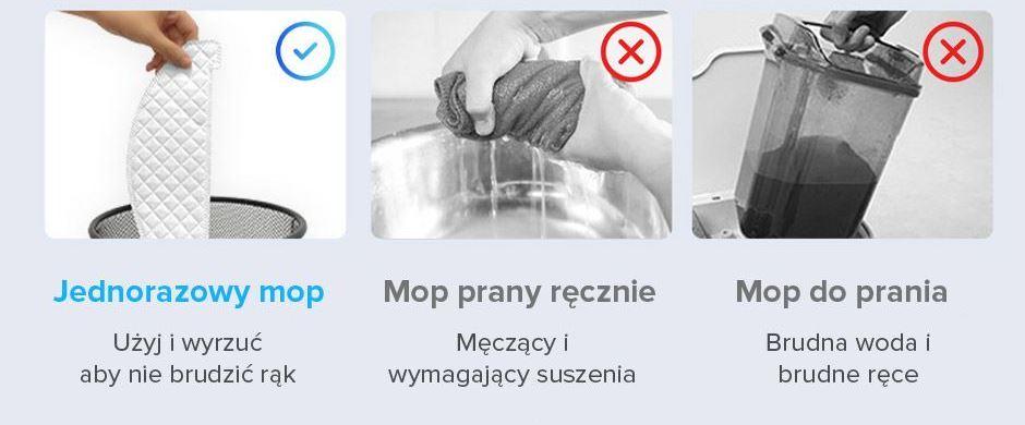 jednorazowy mop w robocie sprzątającym vs mop tradycyjny