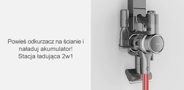 odkurzacz pionowy Dreame T20 z Aliexpress - wieszak i ładowarka