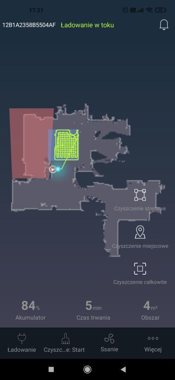 Moneual MBOT 950 - recenzja robota sprzątającego - szachownica w aplikacji - podwójne sprzątanie