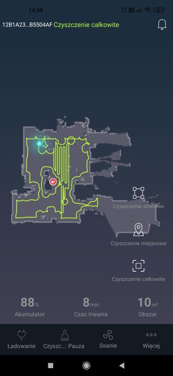 rysowanie mapy w aplikacji w trakcie pierwszego odkurzania
