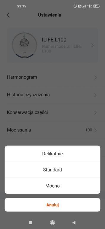 iLife L100 - aplikacja - wybór poziomu nawilżania mopa