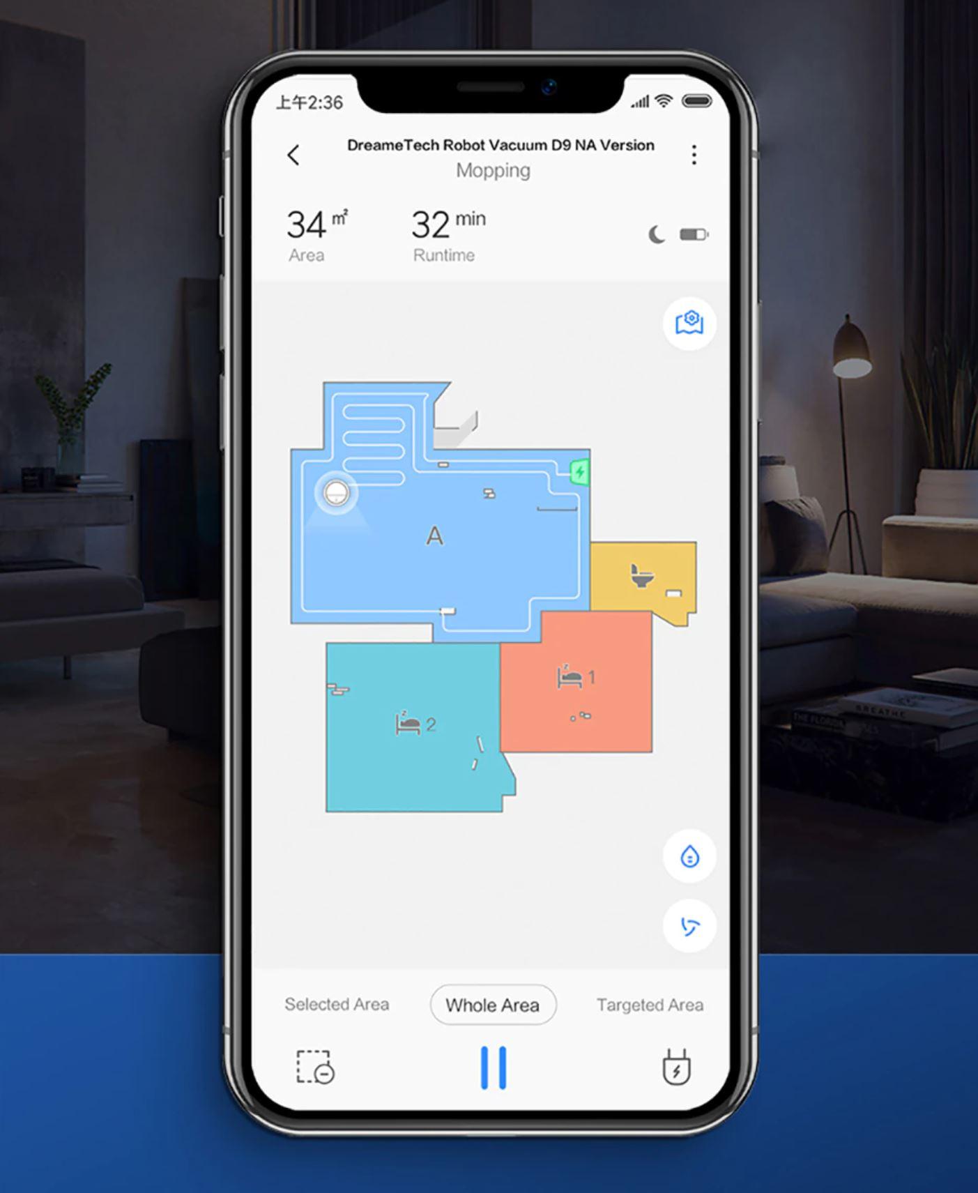 Dreame D9 - aplikacja Xiaomi Home