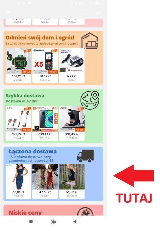 Łączona dostawa Aliexpress w aplikacji na smartfony