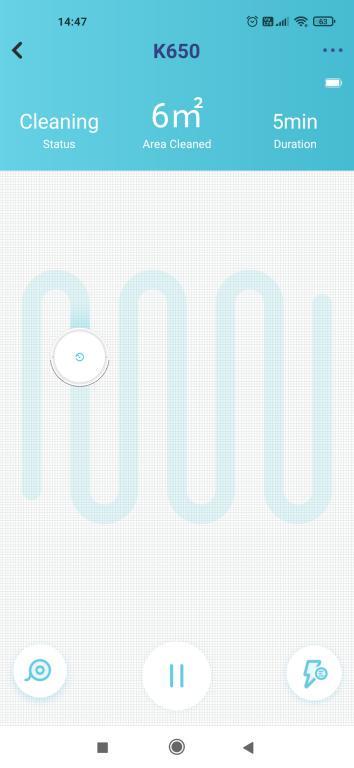Yeedi K650 - recenzja taniego robota sprzątającego z Aliexpress - jazda w aplikacji