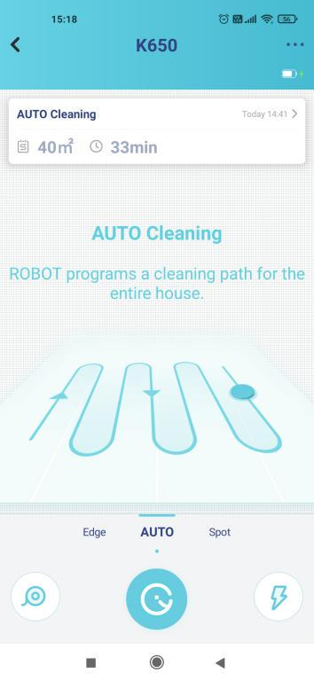 Yeedi K650 - recenzja taniego robota sprzątającego z Aliexpress - tryb auto w aplikacji