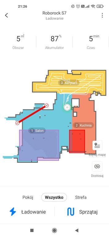 aplikacja Roborock - edycja mapy
