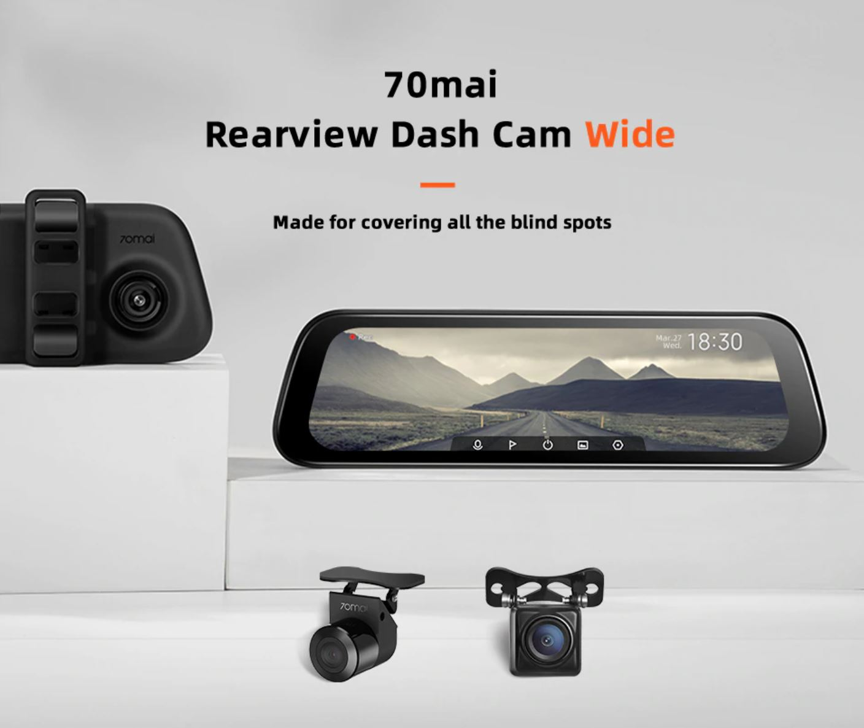 Akcesoria samochodowe z Aliexpress - kamera 70mai Rearview Dash Cam Wide