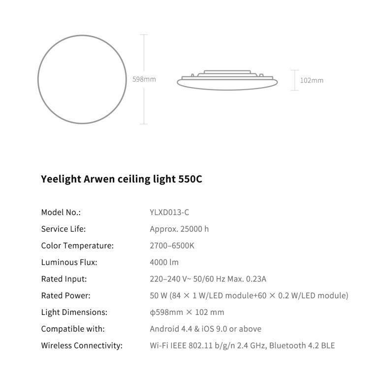 Inteligentne plafony sufitowe Yeelight w promocji Aliexpress - dane techniczne wersji 550C
