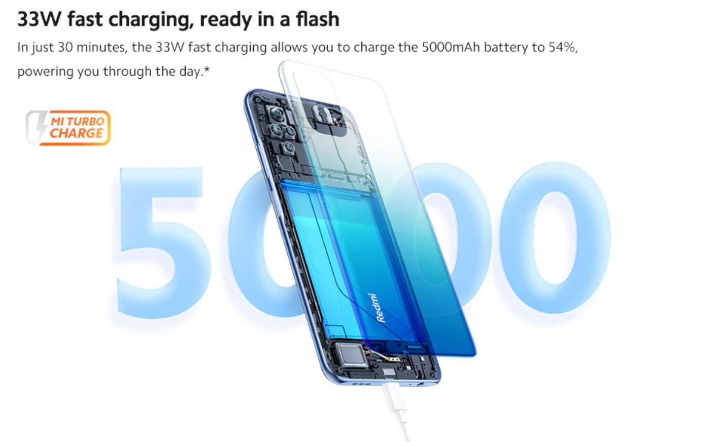 Xiaomi Redmi Note 10S - szybkie ładowanie 33W