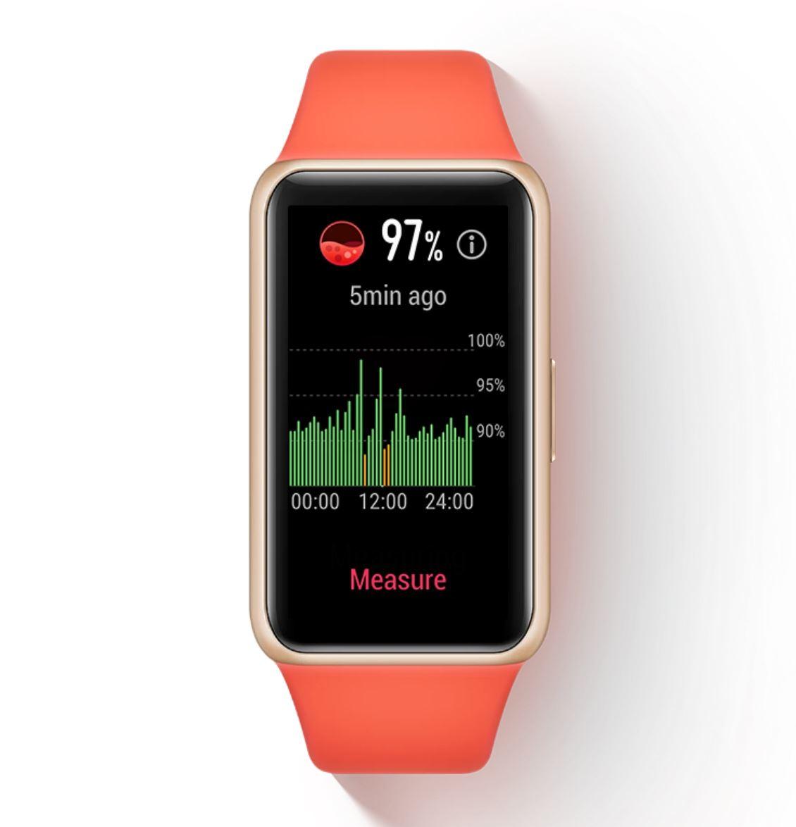 Premiera nowych opasek sportowych - czym różnią się od siebie HUAWEI, HONOR i XIAOMI Band 6 - Huawei Band 6 - kontrola saturacji krwi