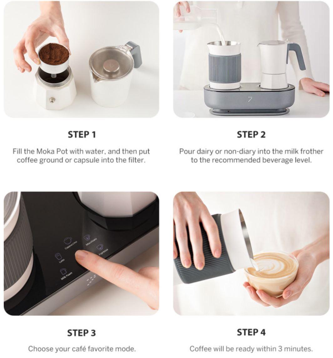 Youpin SEVEN & ME - ekspres do kawy ze spieniaczem mleka w jednym z Aliexpress - robienie kawy w 4 krokach