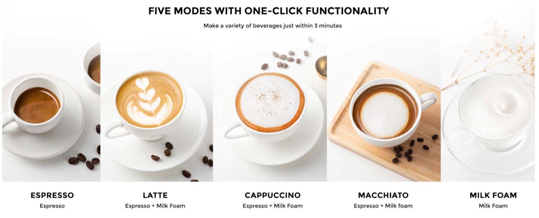 Youpin SEVEN & ME - ekspres do kawy ze spieniaczem mleka w jednym z Aliexpress - różne rodzaje kaw