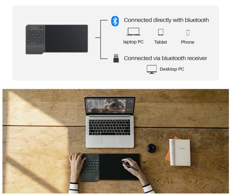 Huion KD200 Inspiroy Tablet - tablet graficzny z Aliexpress - łączność Bluetooth
