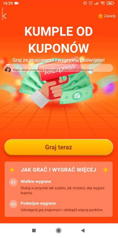 Jak zdobyć kupony Aliexpress - gry i zabawy w aplikacji na smartfony - kumple od kuponów