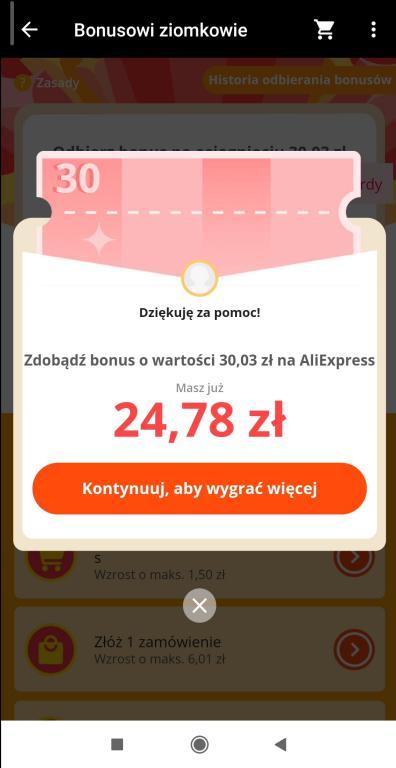 Jak zdobyć kupony Aliexpress - gry i zabawy w aplikacji na smartfony - tnij to - Bonusowi ziomkowie - dziękuję za pomoc