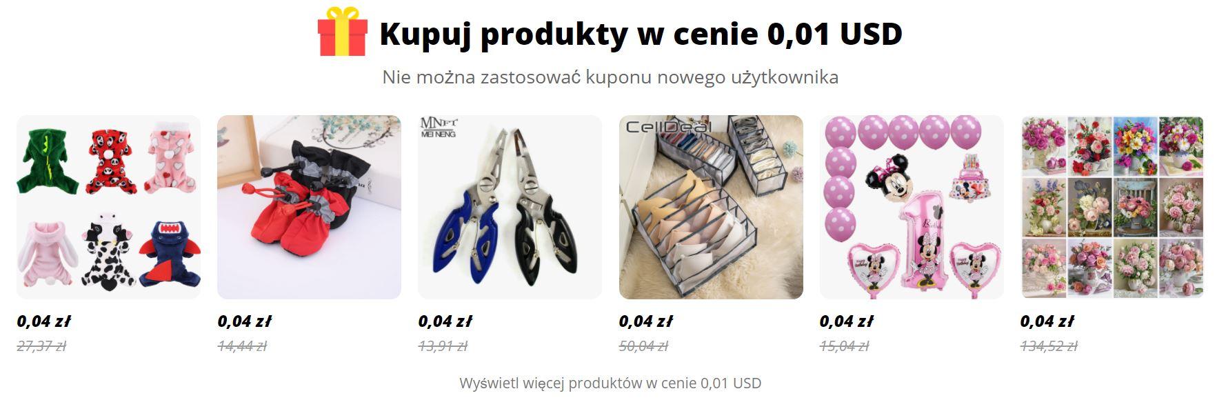 Produkty za $0,01 lub 0,04 zł w Aliexpress dla nowych