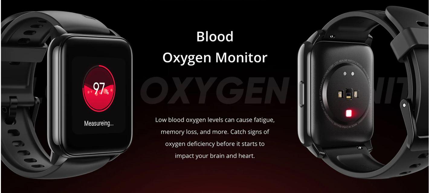 smartwatch realme watch 2 - mierzenie saturacji