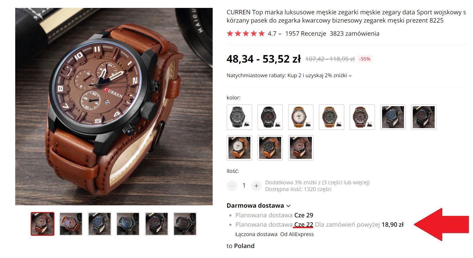 zegarek z łączoną dostawą