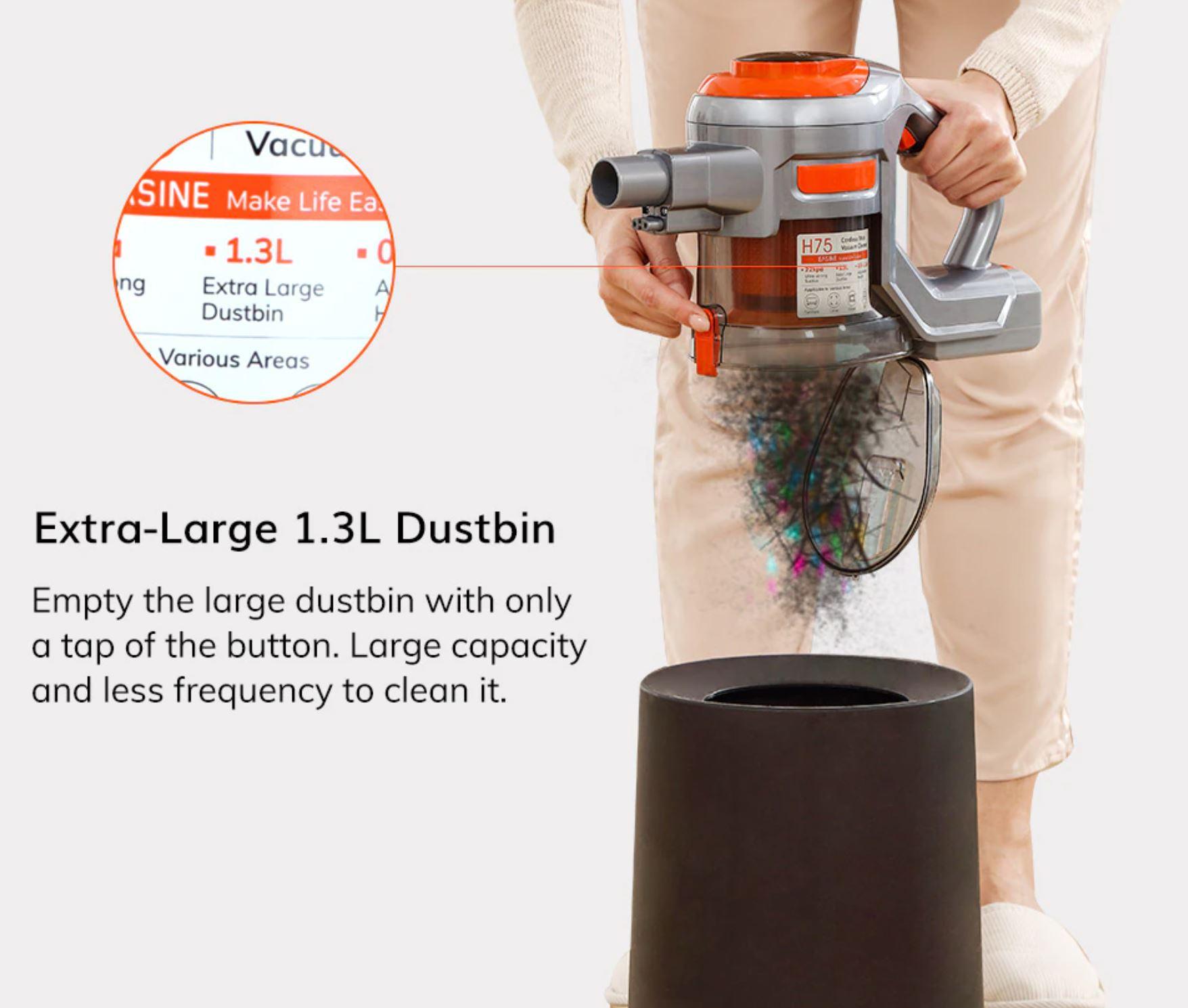 bezprzewodowy odkurzacz pionowy Easine by iLife H75 - pojemnik na kurz