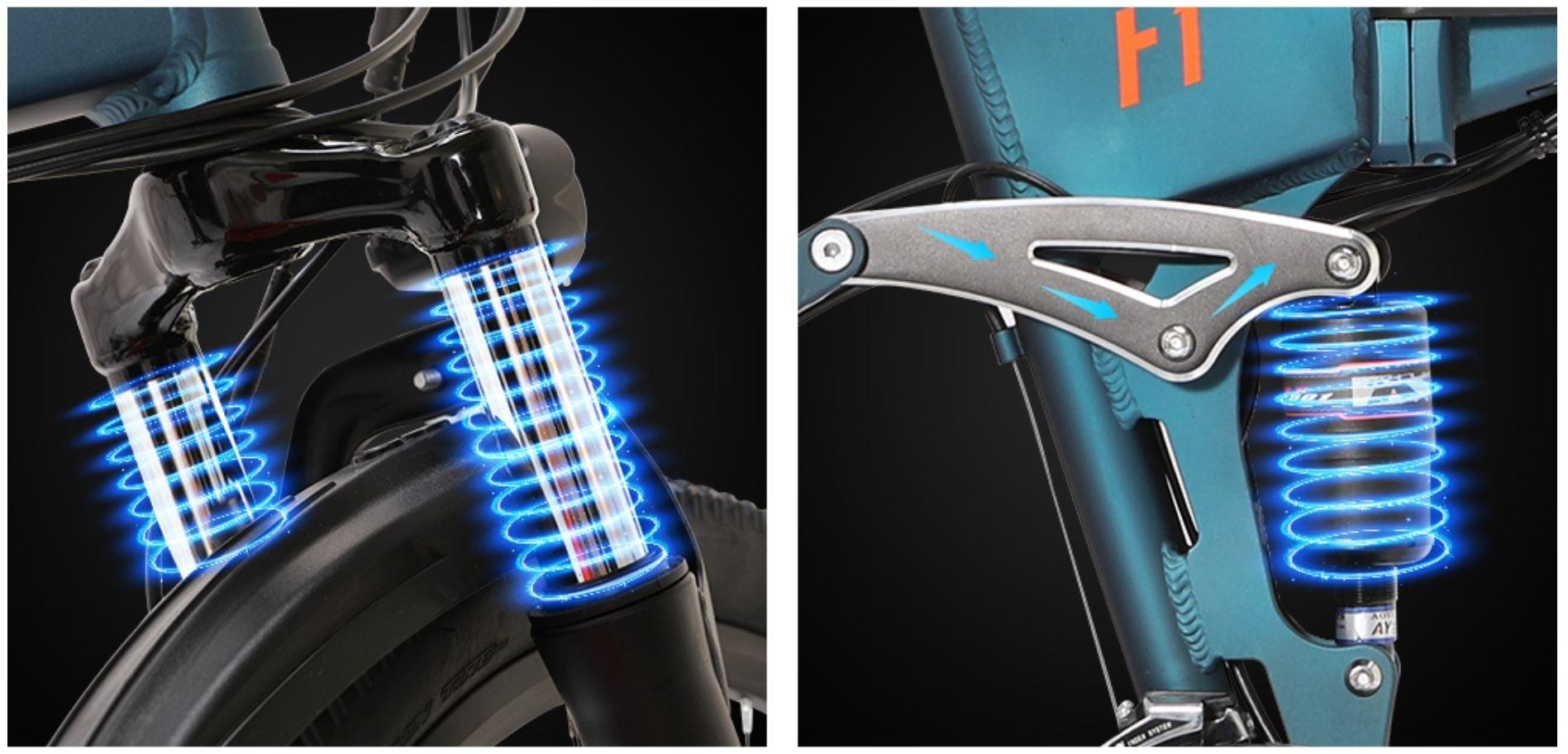 Rower górski elektryczny Eleglide F1 MTB - amortyzatory