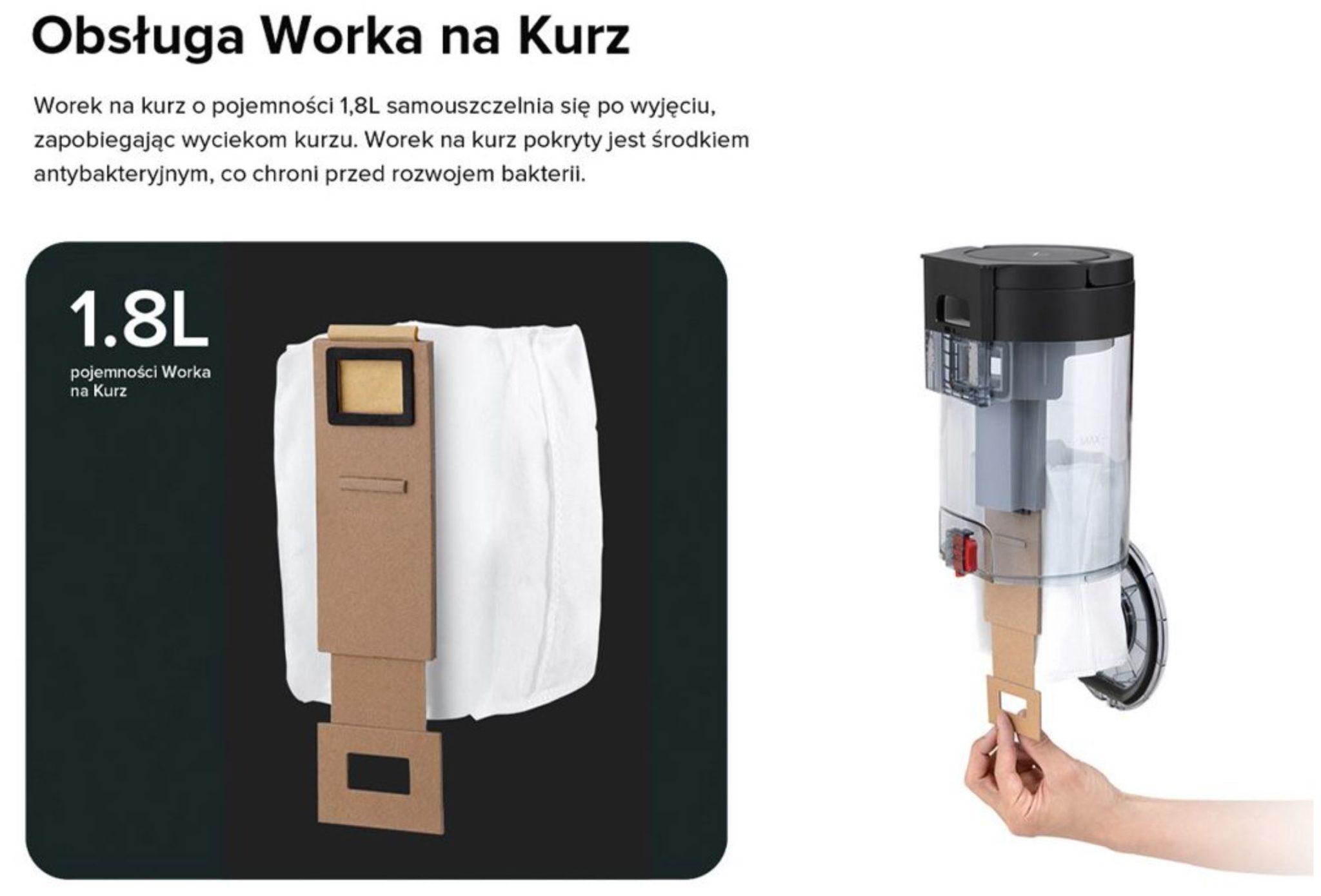 Stacja do automatycznego opróżniania pojemnika na kurz Roborock S7 - antybakteryjny worek na kurz