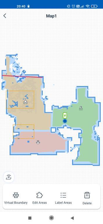 aplikacja ECOVACS - robienie mapy przez robota Deebot OZMO T8 - edycja mapy