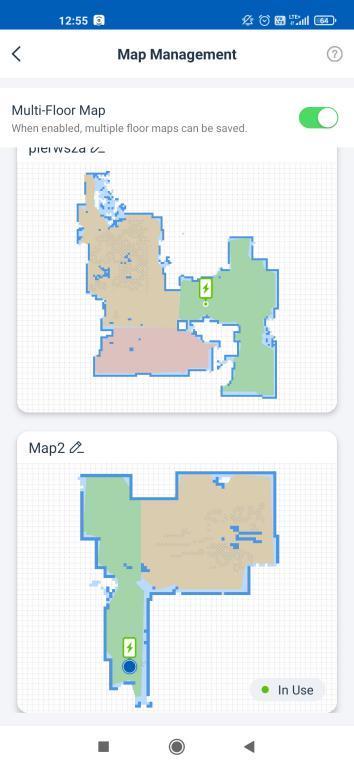 aplikacja ECOVACS - robienie mapy przez robota Deebot OZMO T8 - zapis wielu map