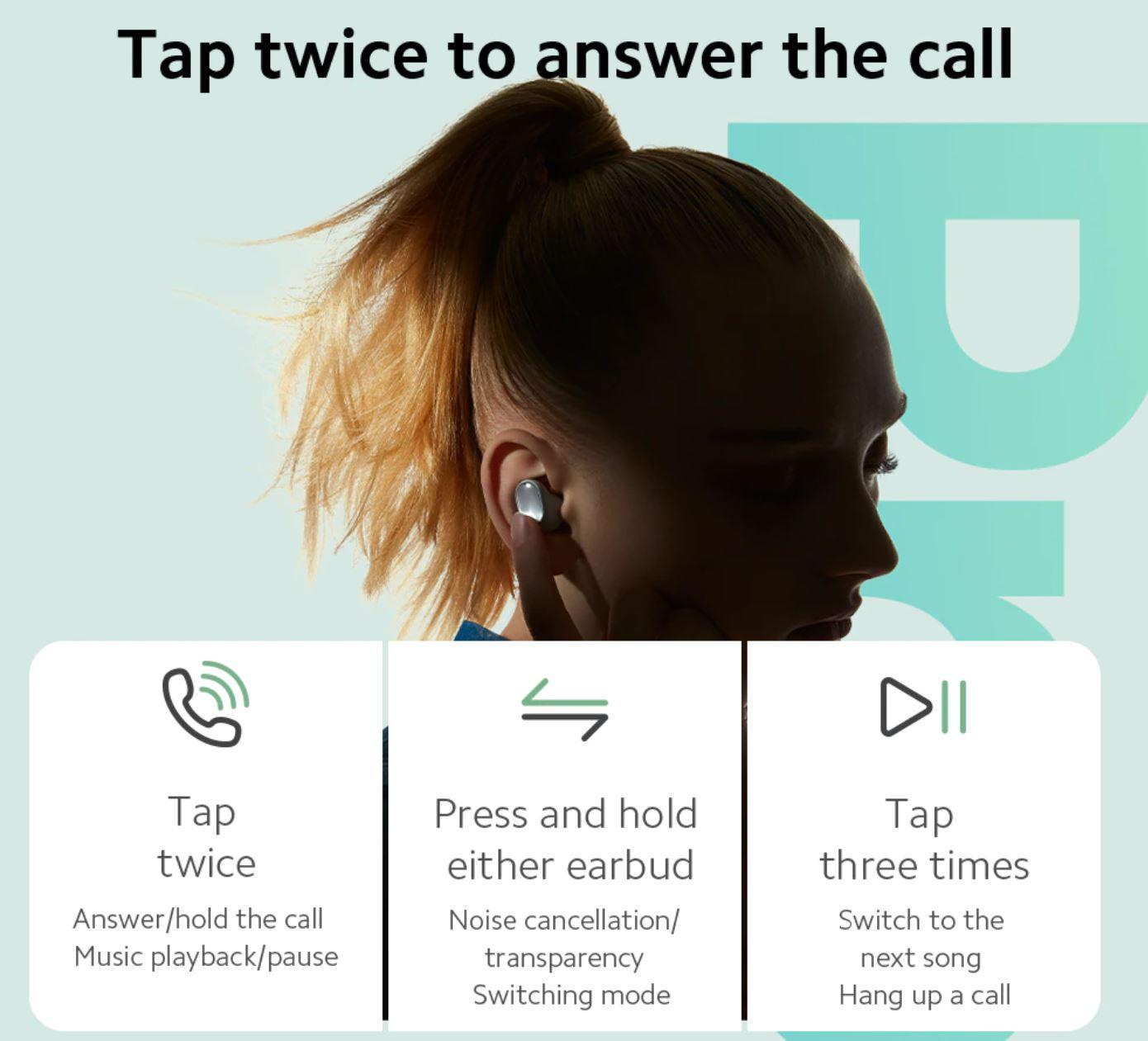 słuchawki Redmi Buds 3 Pro - łatwe sterowanie