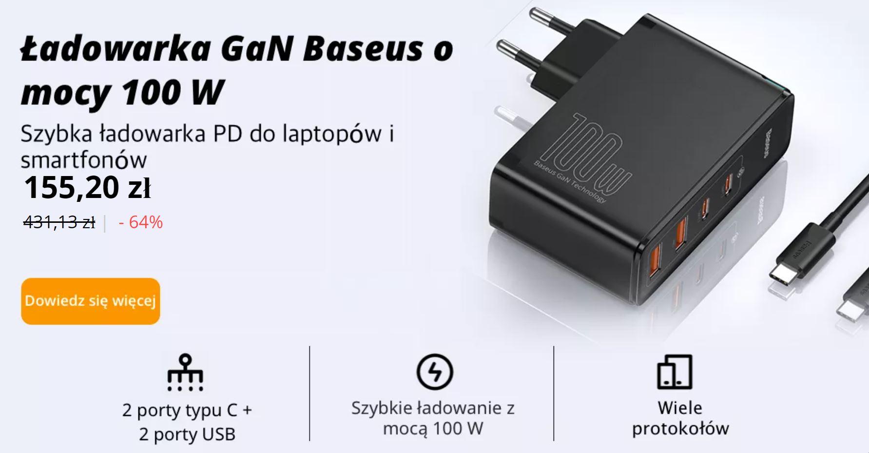 Baseus - świeto marki AliExpress - ładowarka o mocy 100 W