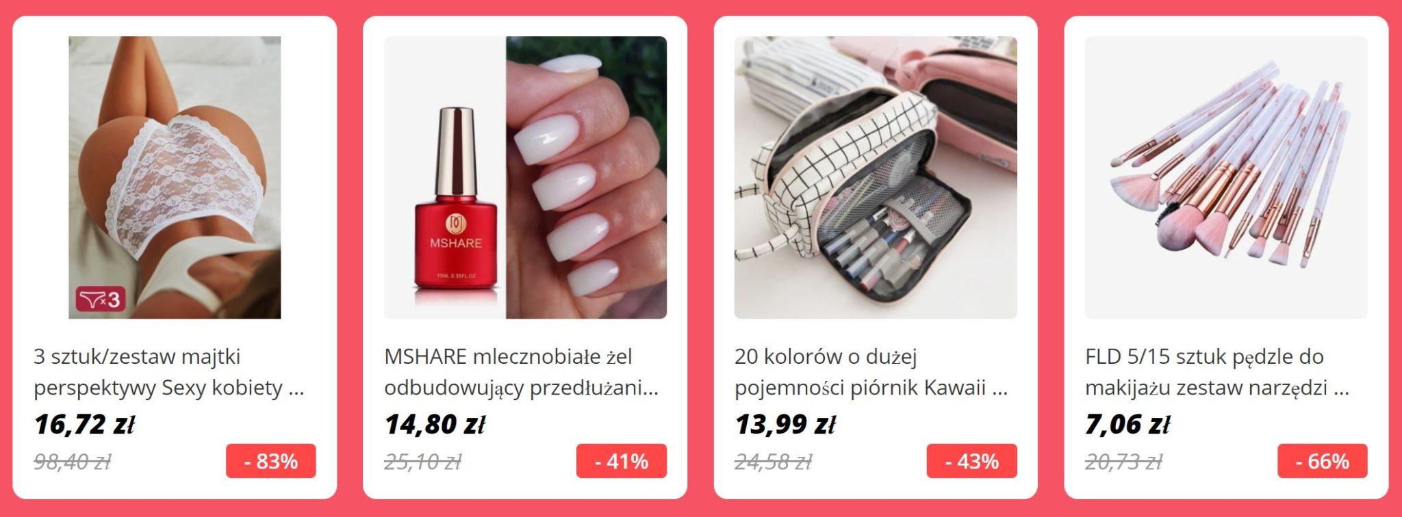 bestsellery AliExpress - bielizna damska, kosmetyki