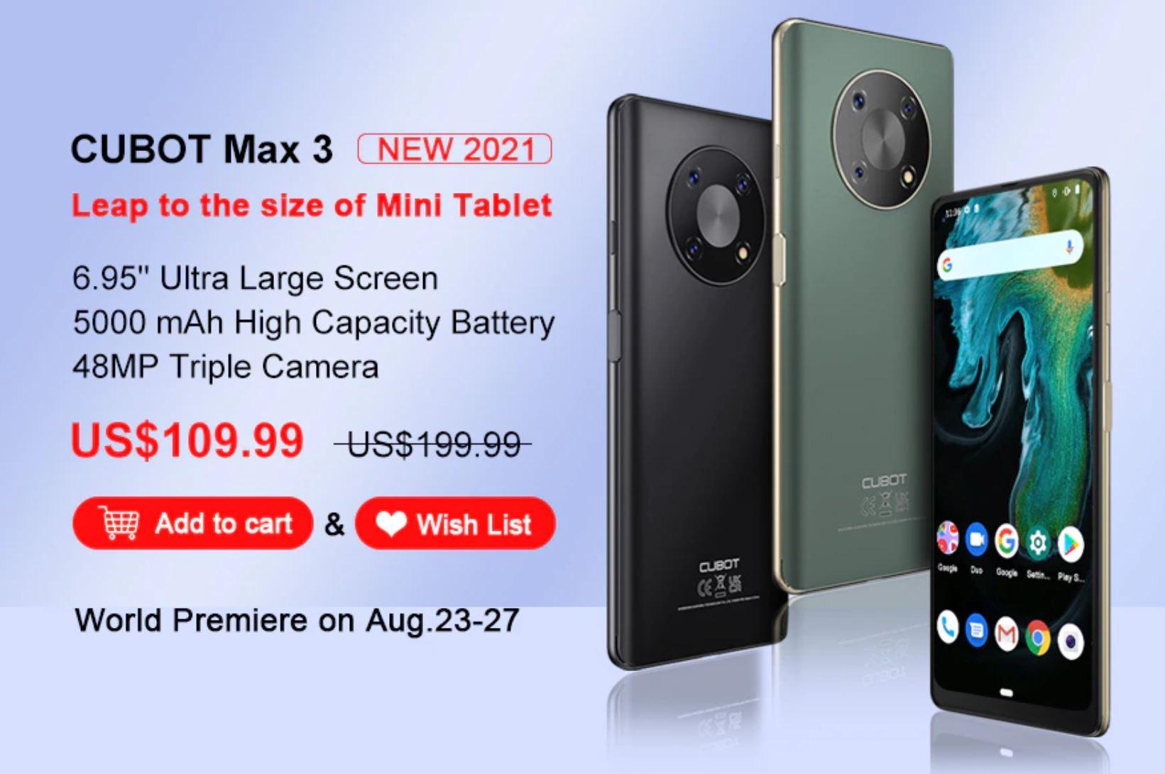 wyprzedaż smartfonów w Aliexpress na koniec wakacji - CUBOT Max 3