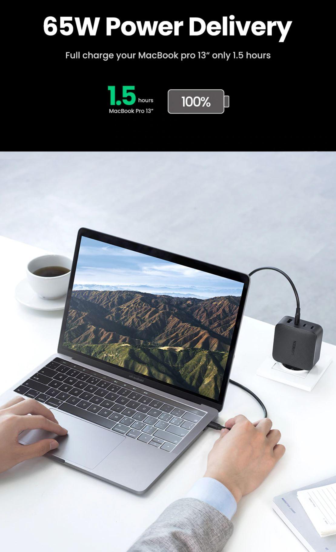 Akcesoria do iPhone 13 z AliExpress - zaoszczędzisz nawet kilkadziesiąt złotych - ładowarka UGREEN 65W - szybkie ładowanie laptopa MacBook Pro