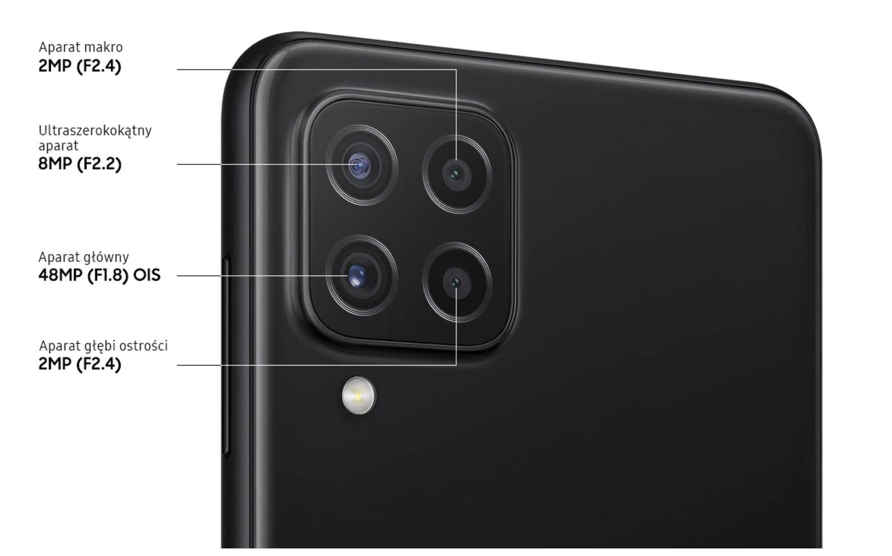 Najpopularniejsze smartfony do 1000 zł w ofercie RTV Euro AGD (TOP 10) - Samsung A22 - aparat