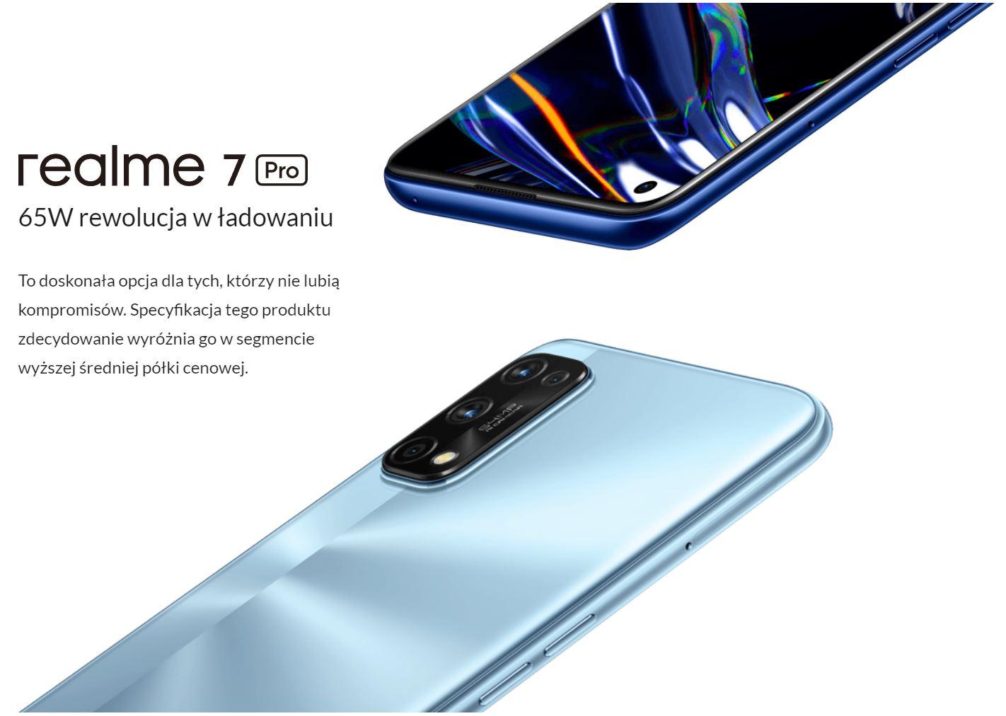 Najpopularniejsze smartfony do 1000 zł w ofercie RTV Euro AGD (TOP 10) - realme 7 Pro - ładowanie
