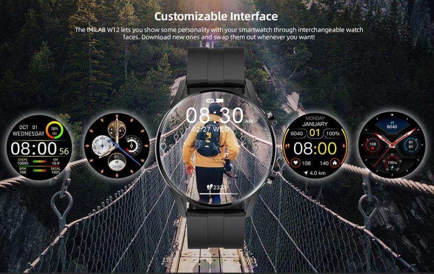 męski smartwatch IMILAB W12 - personalizacja tarczy