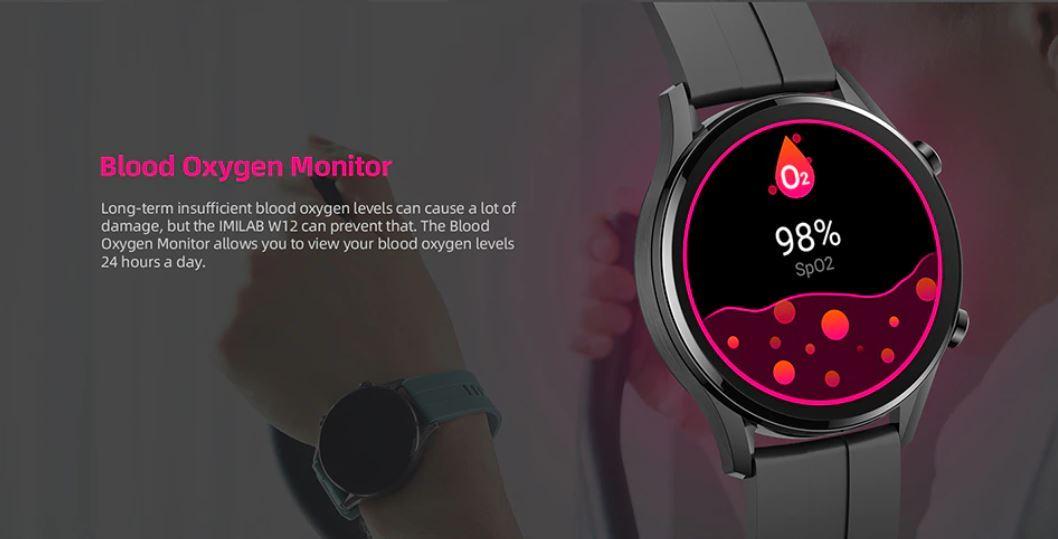 męski smartwatch IMILAB W12 - pomiar saturacji